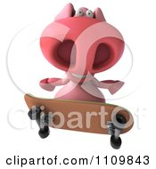 Clipart 3d Pookie Pig Skateboarding 4 Royalty Free CGI Illustration