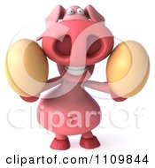 Clipart 3d Pookie Pig Holding Eggs Royalty Free CGI Illustration