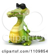 Clipart 3d Crocodile Wearing Shades And Facing Left Royalty Free CGI Illustration