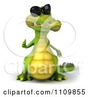Clipart 3d Crocodile Wearing Shades And Holding A Thumb Up 1 Royalty Free CGI Illustration