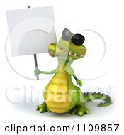 Clipart 3d Crocodile Wearing Shades And Holding A Sign 1 Royalty Free CGI Illustration