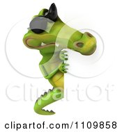 Clipart 3d Crocodile Wearing Shades And Holding A Sign 2 Royalty Free CGI Illustration