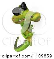 Clipart 3d Crocodile Wearing Shades And Holding A Sign 3 Royalty Free CGI Illustration