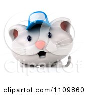 Clipart 3d White Kitten Wearing A Blue Hat Over A Sign Royalty Free CGI Illustration