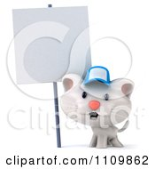 Clipart 3d White Kitten Wearing A Blue Hat By A Sign Royalty Free CGI Illustration