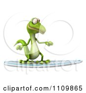 Clipart 3d Green Gecko Surfing Royalty Free CGI Illustration
