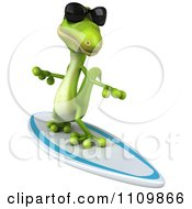 Clipart 3d Green Gecko Wearing Shades And Surfing 1 Royalty Free CGI Illustration