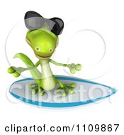 Clipart 3d Green Gecko Wearing Shades And Surfing 2 Royalty Free CGI Illustration