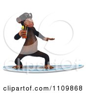 Clipart 3d Chimp Wearing Shades Sipping Tea And Surfing 1 Royalty Free CGI Illustration