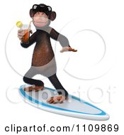 Clipart 3d Chimp Wearing Shades Sipping Tea And Surfing 2 Royalty Free CGI Illustration