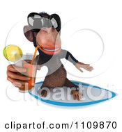 Clipart 3d Chimp Wearing Shades Sipping Tea And Surfing 3 Royalty Free CGI Illustration