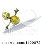 Clipart 3d Tortoise Surfing 2 Royalty Free CGI Illustration