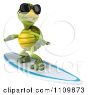 Clipart 3d Tortoise Wearing Shades And Surfing 1 Royalty Free CGI Illustration