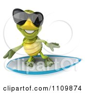 Clipart 3d Tortoise Wearing Shades And Surfing 2 Royalty Free CGI Illustration