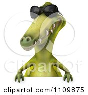 Clipart 3d Dinosaur Wearing Sunglasses And Holding A Sign Royalty Free CGI Illustration