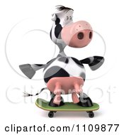 Clipart 3d Dairy Cow Skateboarding 1 Royalty Free CGI Illustration