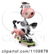 Clipart 3d Dairy Cow Skateboarding 2 Royalty Free CGI Illustration