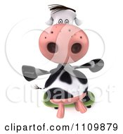 Clipart 3d Dairy Cow Skateboarding 3 Royalty Free CGI Illustration