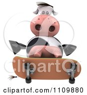Clipart 3d Dairy Cow Skateboarding 4 Royalty Free CGI Illustration