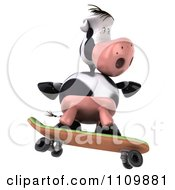Clipart 3d Dairy Cow Skateboarding 5 Royalty Free CGI Illustration