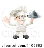 Clipart Happy Chef Waving And Holding Up A Platter Royalty Free Vector Illustration