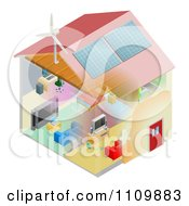 Clipart Energy Efficient Home With Insulation Wind Turbine And Solar Panels Royalty Free Vector Illustration