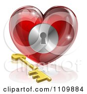 Clipart 3d Red Shiny Heart And Gold Key With A Keyhole Royalty Free Vector Illustration