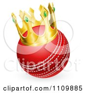 Clipart Red Cricket Ball Wearing A 3d Gold Crown Royalty Free Vector Illustration