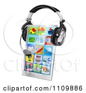 Clipart 3d Touch Phone With A Headset Royalty Free Vector Illustration by AtStockIllustration