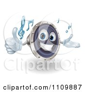 Clipart 3d Happy Speaker Mascot Holding A Thumb Up And Playing Tunes Royalty Free Vector Illustration