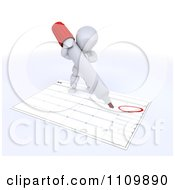 Clipart 3d White Character Circling Independence Day On A Calendar Royalty Free CGI Illustration