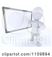 3d White Character Teacher With A White Board