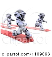Clipart 3d Racing Robots On Red Arrows Royalty Free CGI Illustration