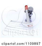 Clipart 3d Robot Circling Independence Day On A Calendar Royalty Free CGI Illustration