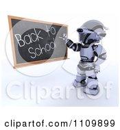 Clipart 3d Robot Teacher Writing Back To School On A Black Board Royalty Free CGI Illustration