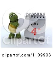 3d Tortoise Tearing Off A Page On A Desk Calendar And Revelaing July 4th