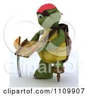 3d Tortoise Pirate Reading A Treasure Map