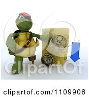 Clipart 3d Illegal Movie Download Pirate Tortoise With A Folder And Film Reels Royalty Free CGI Illustration by KJ Pargeter