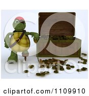Clipart 3d Tortoise Pirate Leaning On A Treasure Chest With Coins And A Map Royalty Free CGI Illustration by KJ Pargeter