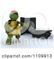 Clipart 3d Movie Or Software Pirate Tortoise Presenting Illegal Bootleg Packaging Royalty Free CGI Illustration by KJ Pargeter