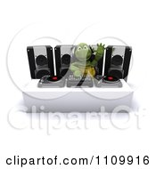 Clipart 3d Tortoise Dj Mixing Records And Waving Royalty Free CGI Illustration by KJ Pargeter