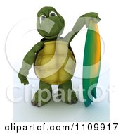 Clipart 3d Tortoise Standing With A Surfboard Royalty Free CGI Illustration by KJ Pargeter