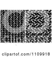 Clipart Black And White Seamless Floral And Clover Leaf Patterns Royalty Free Vector Illustration