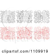 Clipart Black And White And Red Oriental Floral Design Elements Royalty Free Vector Illustration