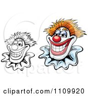 Clipart Black And White And Colored Happy Smiling Clowns Royalty Free Vector Illustration by Vector Tradition SM