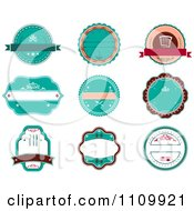 Clipart Retro Turquoise Restaurant Labels Royalty Free Vector Illustration