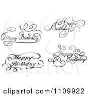 Clipart Black And White Ornate Hand Written Happy Birthday Greetings Royalty Free Vector Illustration