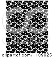 Clipart Black And White Seamless Clover Leaf Pattern Royalty Free Vector Illustration