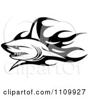 Clipart Black And White Tribal Shark And Flames 1 Royalty Free Vector Illustration
