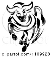 Clipart Black And White Charging Angry Bull Royalty Free Vector Illustration by Seamartini Graphics
